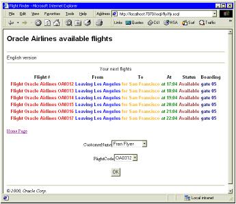Customizing Presentation with XML and XSQL Flight Finder 7 of 8