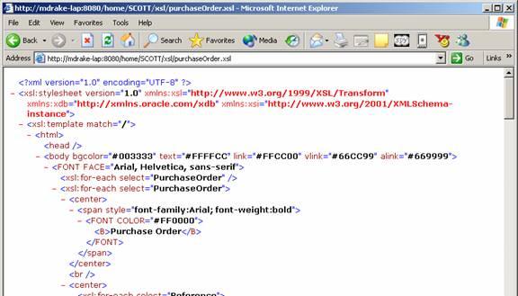 sample purchase order xml file  Oracle XML DB Basic Demo