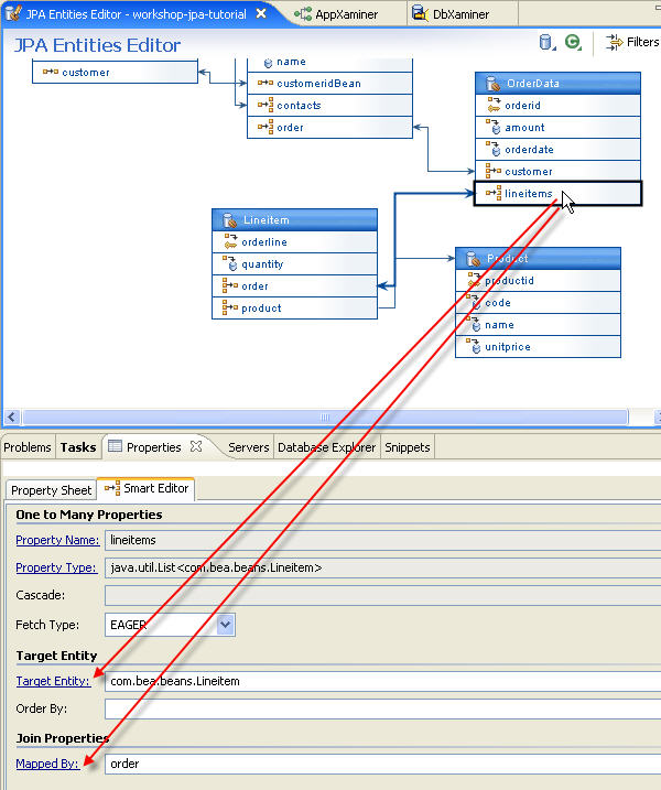 Jpa and kodo tutorial step 4 managing persistent entities with the click on the lineitems property in the orderdata entity and view target entity and mapped by properties in the smart editor ccuart Image collections
