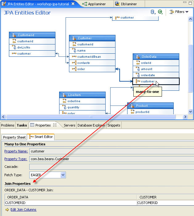 Jpa and kodo tutorial step 4 managing persistent entities with the select the customer property in the orderdata entity to view its properties in the smart editor within the smart editor examine the join properties ccuart Image collections