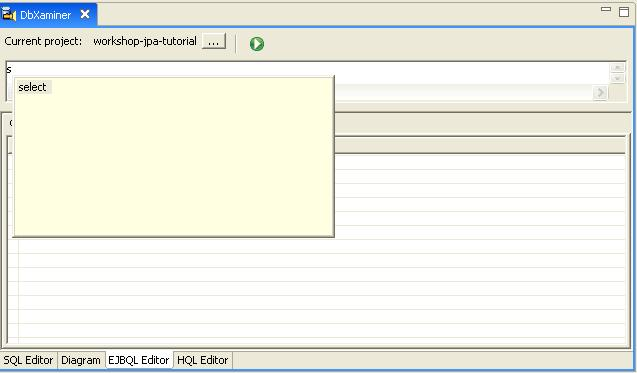 Jpa and kodo tutorial step 2 generate or mappings and test with ejbql in the ejbql editor enter s and press ctrlspace it displays a list of ejbql keywords starting with letter s ccuart Image collections
