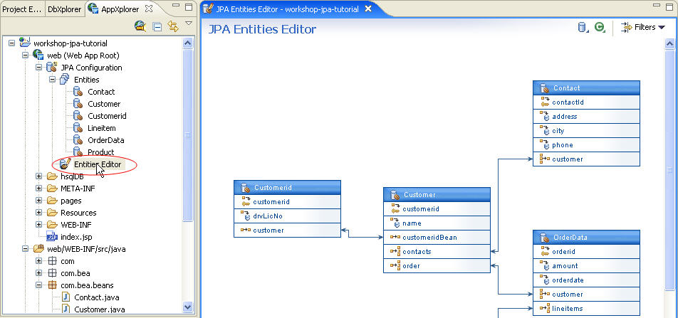 Jpa and kodo tutorial step 4 managing persistent entities with the the jpa persistence entities editor displays all entity relationships defined in the web application each box displays a specific entity its properties ccuart Image collections