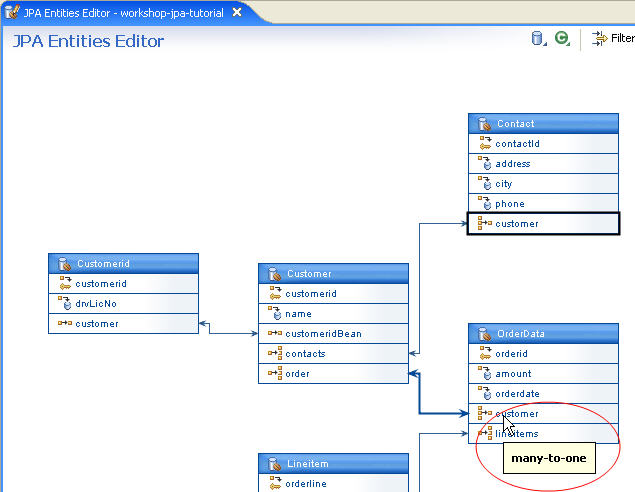 Jpa and kodo tutorial step 4 managing persistent entities with the the jpa entities editor also allows you to filter relationships between entities this feature helps you simplify your view of the diagram when it is large ccuart Image collections