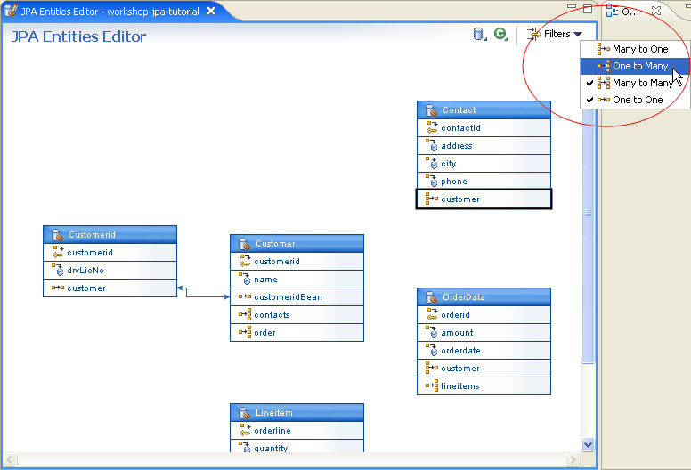 Jpa and kodo tutorial step 4 managing persistent entities with the click filters and unselect the options many to one and one to many to filter which entity relationships are noted in the diagram ccuart Image collections