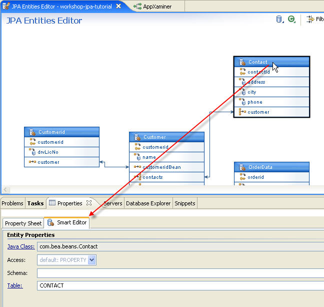 Jpa and kodo tutorial step 4 managing persistent entities with the click the properties view to view the smart editor the smart editor displays the properties for the contact entity ccuart Image collections