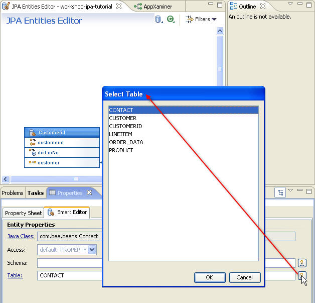 Jpa and kodo tutorial step 4 managing persistent entities with the icon to view a list of possible options in jpa persistence entities editor ccuart Image collections