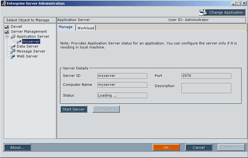 the hyperion enterprise server administration allows you to manage any installed servers including the application server data server message server and - Hyperion Administrator