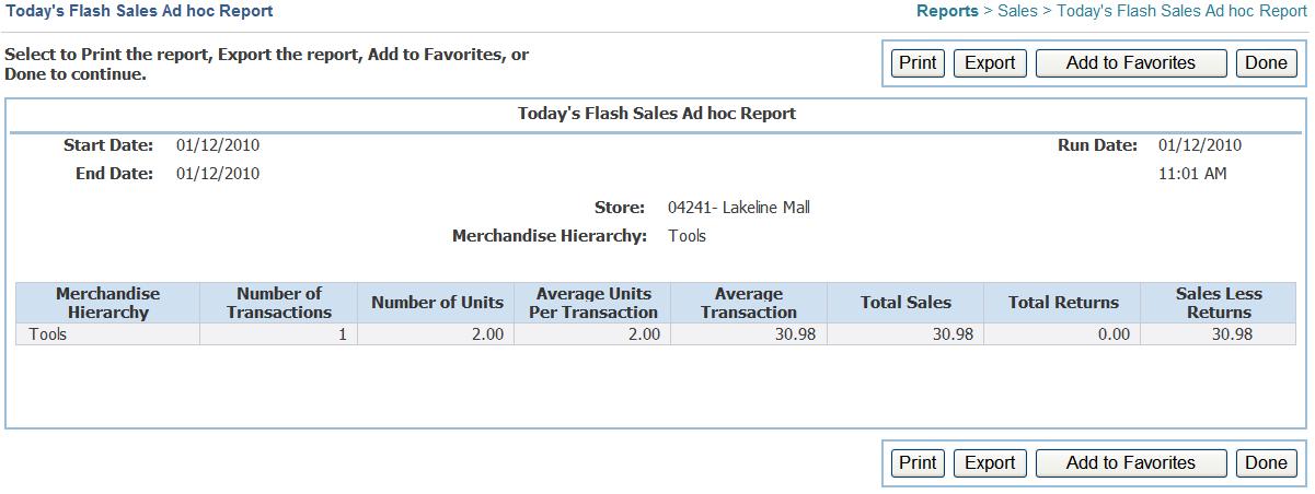 report of sales