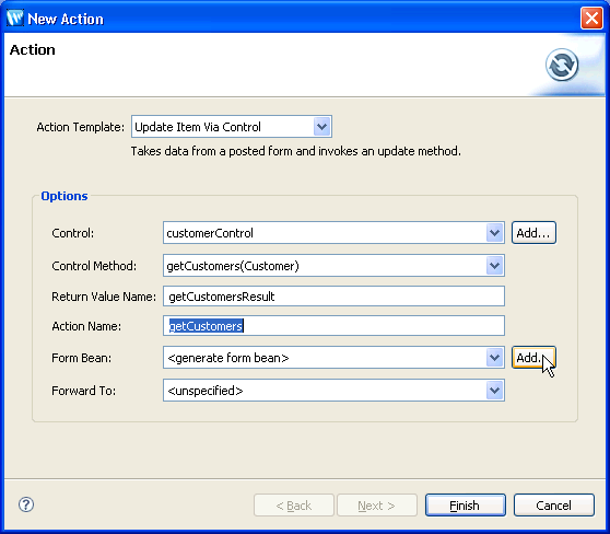how to create new object in java with action listener