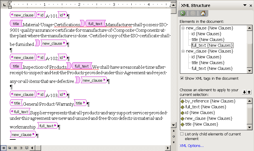 Example Of Object Import XML Tags As They Appear In A Microsoft Word Document