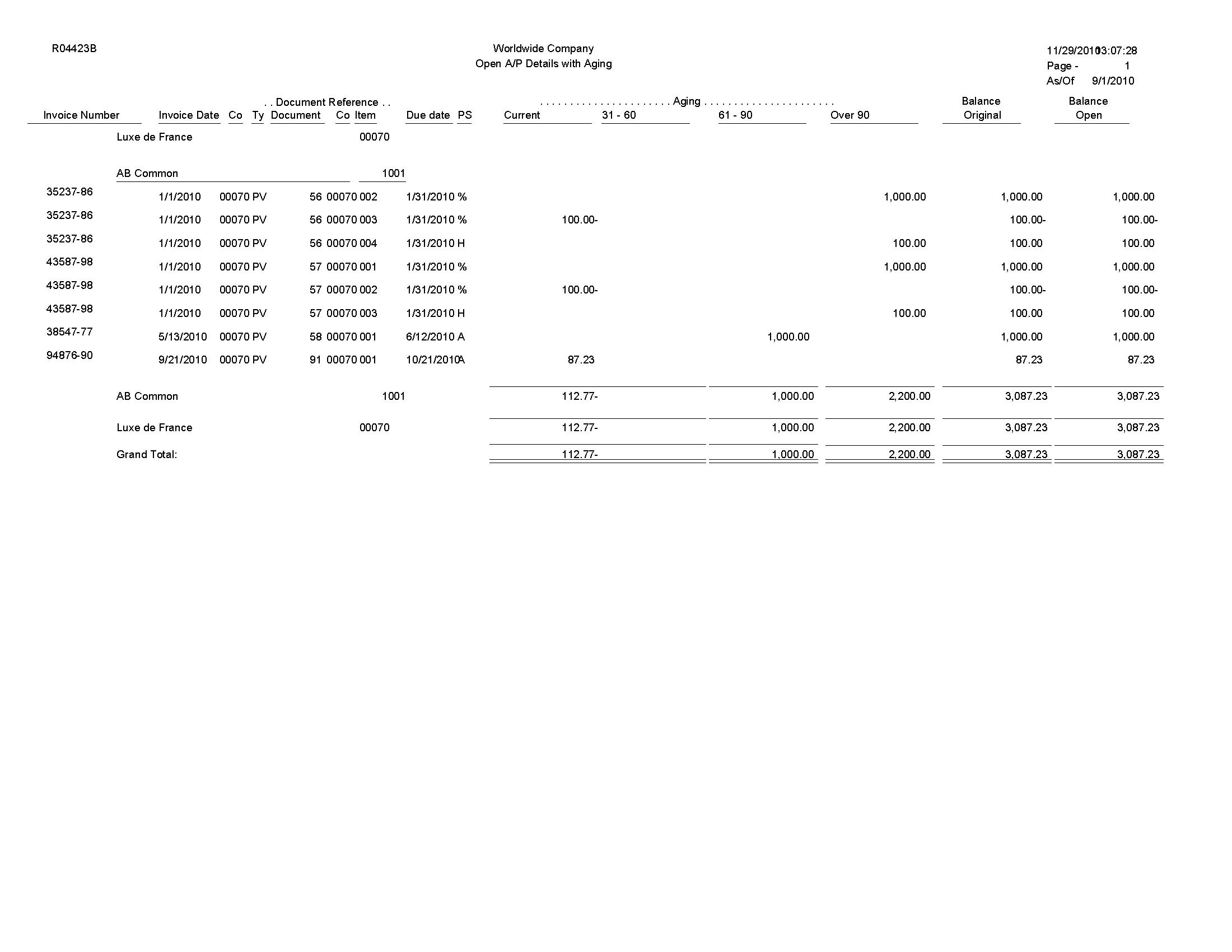 aging report sample