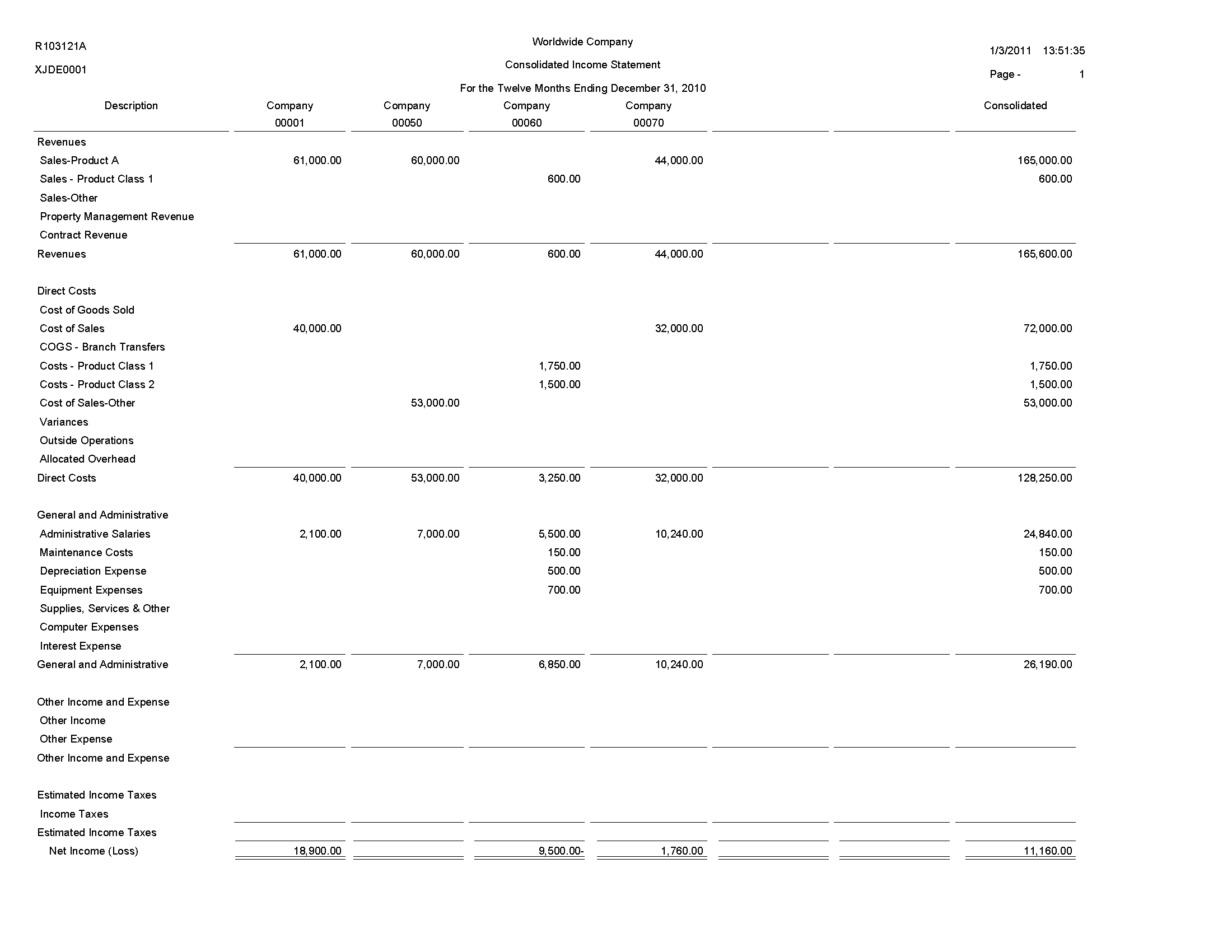 Consolidating financial statements sample