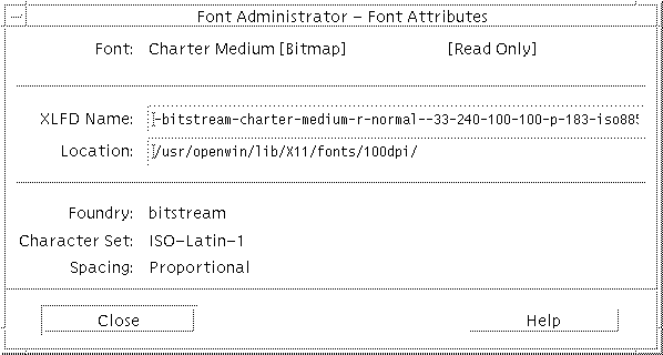 To View Font Attributes - Font Administrator User's Guide