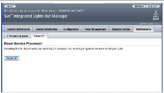 ILOM Reset Service Processor Window
