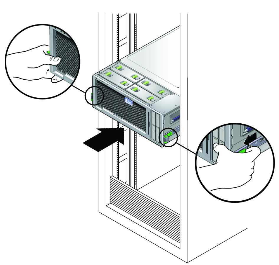 Image Graphic Showing The Green Plastic Release Tabs On Mounting Brackets