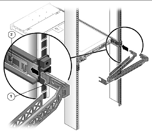 graphic showing cma mounting bracket inserted into rear of the right slide  rail