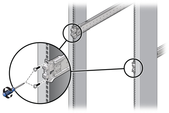 Graphic Showing The Mounting Bracket Installed On Rack Post