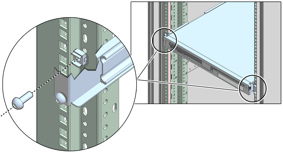 Insert Cage Nuts Into Rail Holes  Sun    Rack    II User s Guide