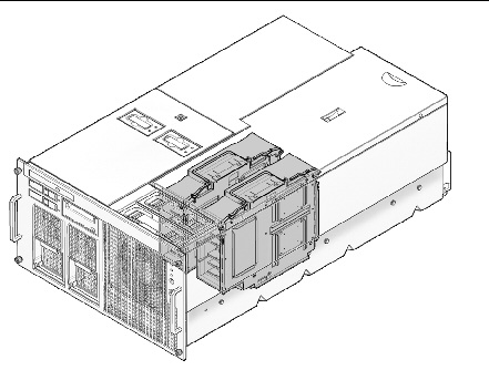Figure illustrating the location of the CPU modules in the SPARC Enterprise M4000 server.