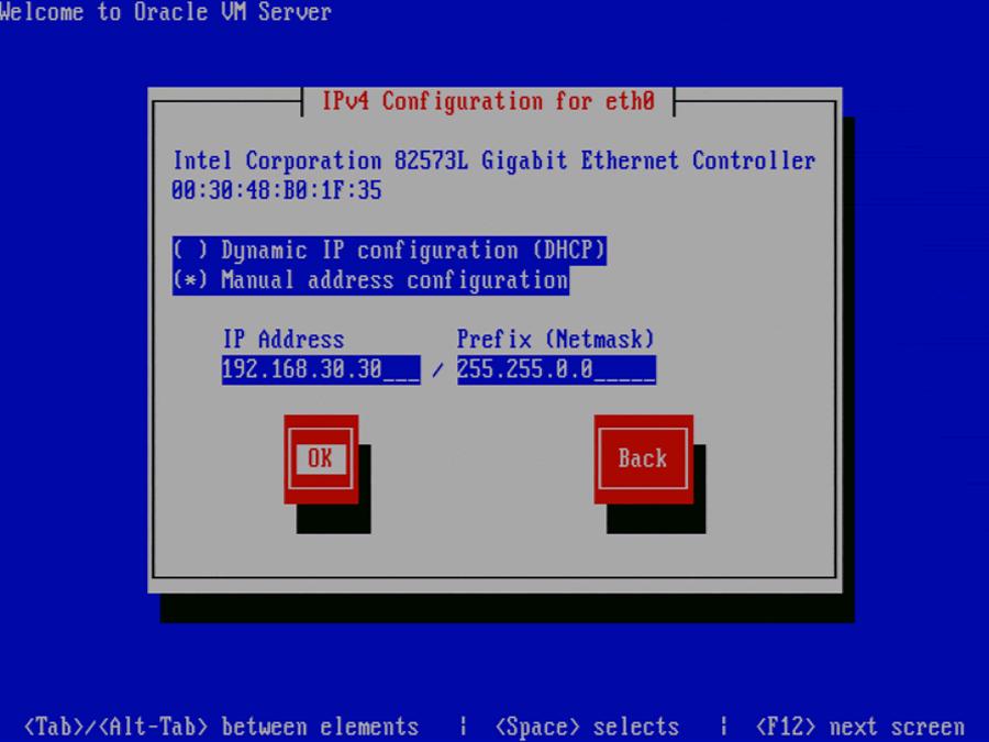 Installing Oracle VM Server