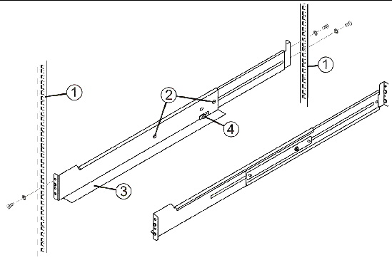 Drawing Showing The Rails And Orientation Within A Cabinet.