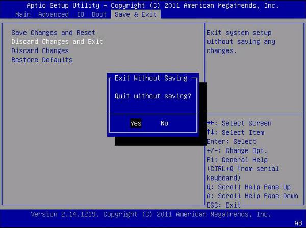 BIOS Save & Exit Menu Selections - Sun Blade X3-2B Product