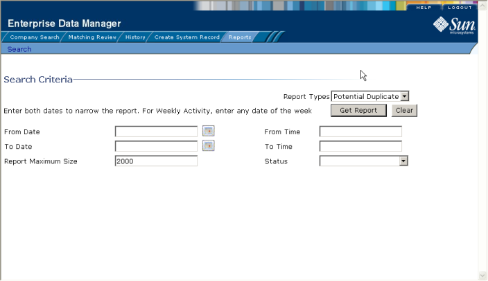image:Figure shows the Reports Search page.