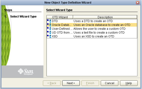 Creating a Database OTD - Developing OTDs for Oracle Java CAPS