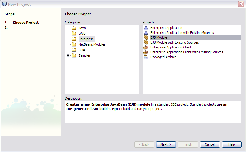 Creating an EJB Module Project - Oracle Java CAPS Java EE Service Engine  Tutorial