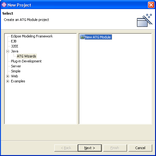 Creating a New ATG Module and WSAD Java Project