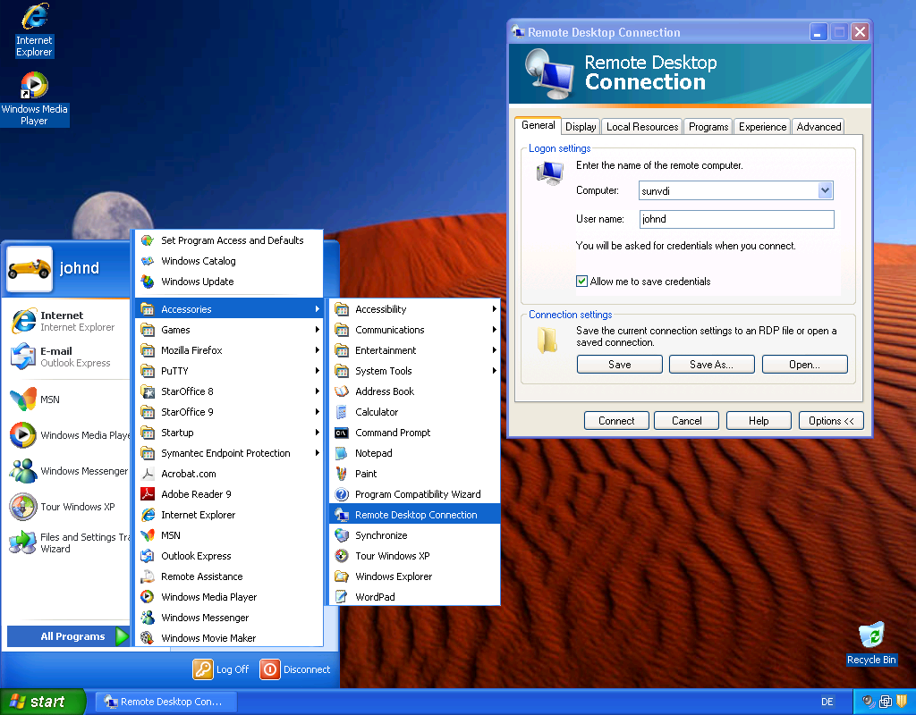 screen capture showing the remote desktop connection option selected in the windows start menu and the