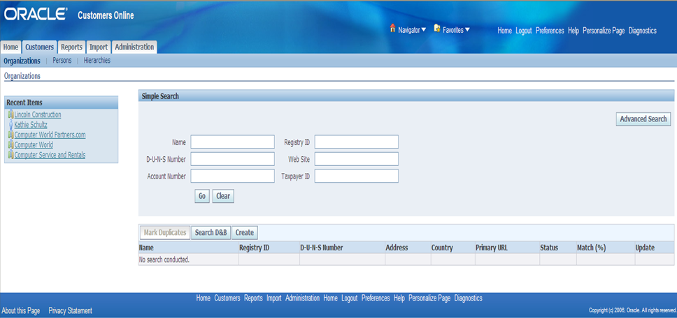Customer Online Organization Search Page