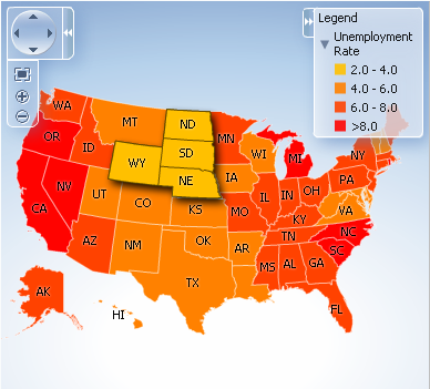 Using Map Components - Unemployment in the us map