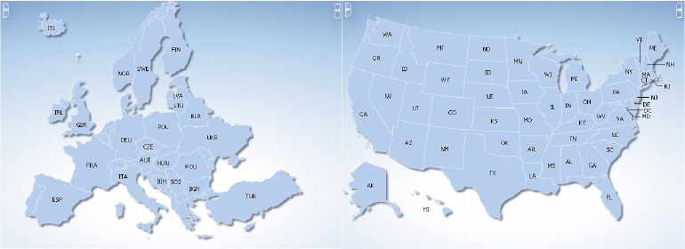 Using Map Components - Europe us map