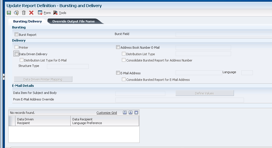 Creating JD Edwards EnterpriseOne BI Publisher Report Definitions - Data driven mapping