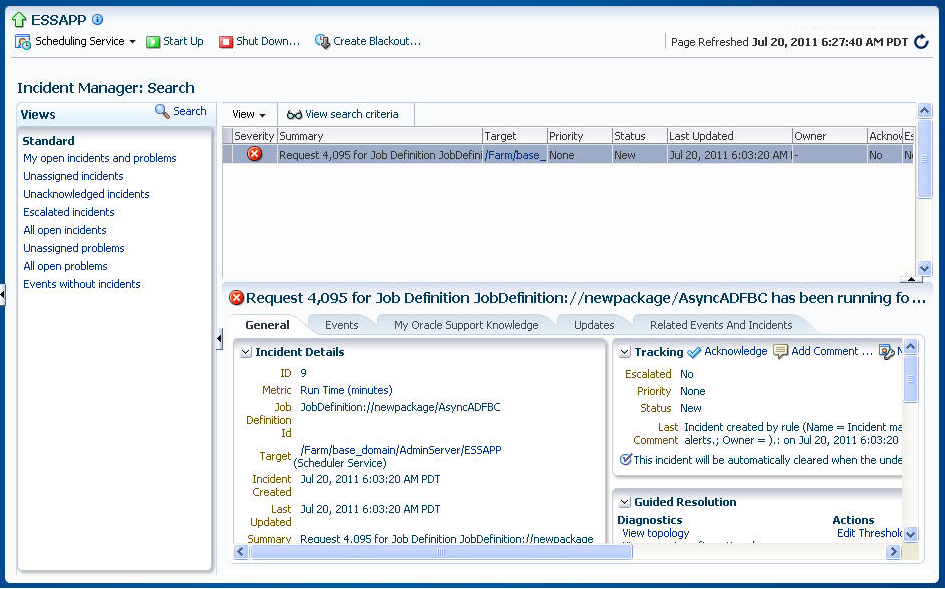 Managing Oracle Enterprise Scheduler Service and Jobs - 11g