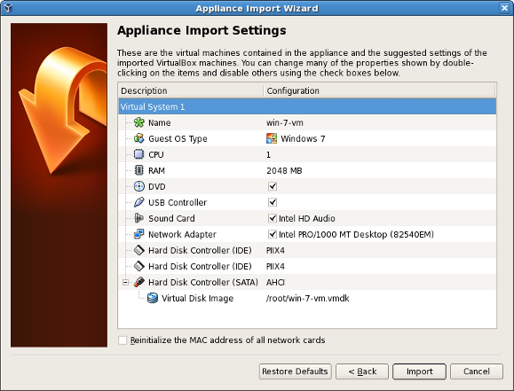 6 2  Importing an Existing Virtual Machine into VirtualBox