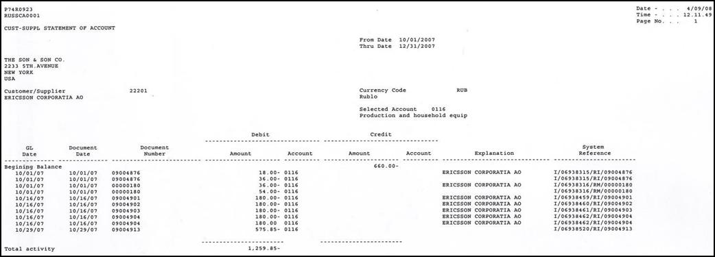 Customer Supplier Statement Of Account