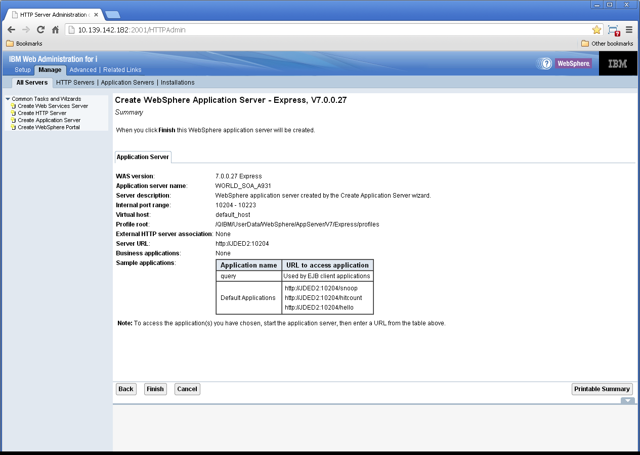 ... WebSphere Application Server screen. Description of Figure B-9 follows