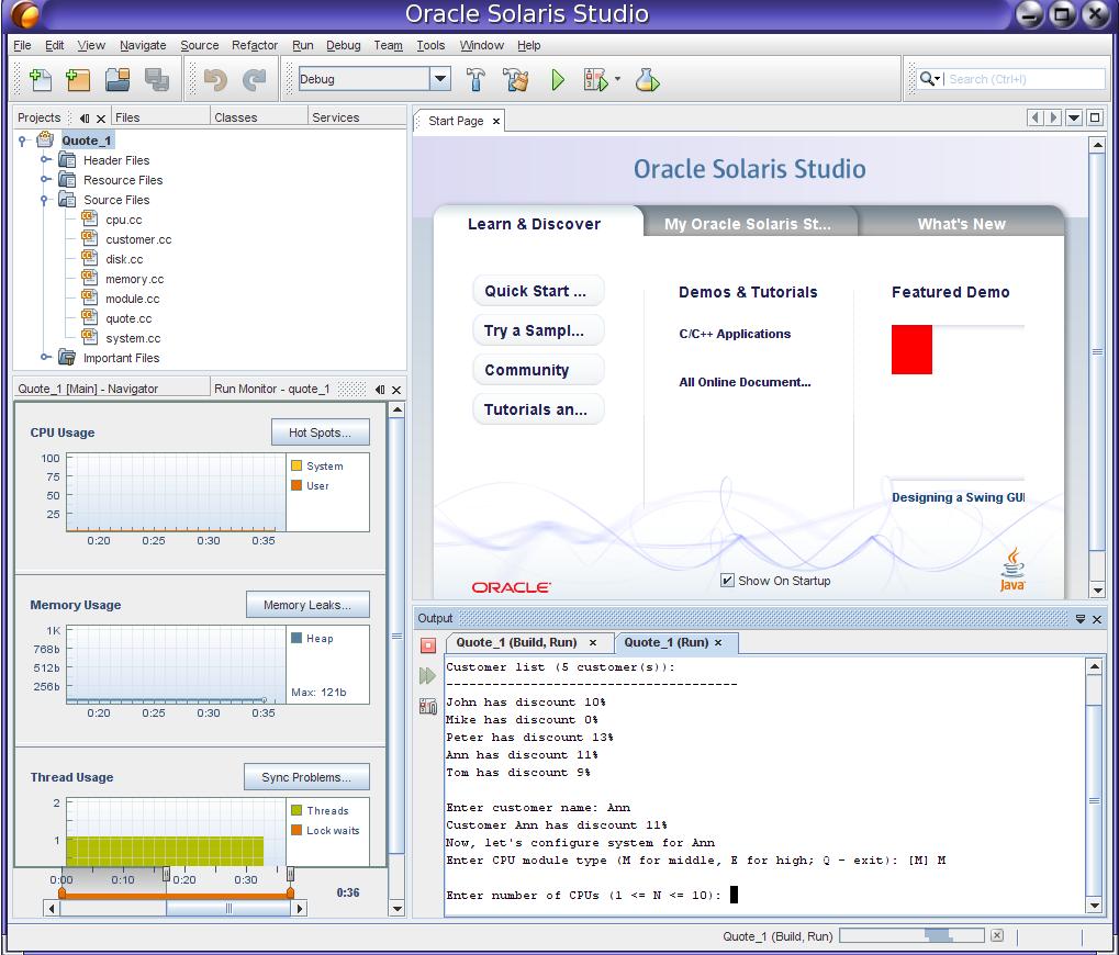 Oracle Solaris Studio IDE - Or...