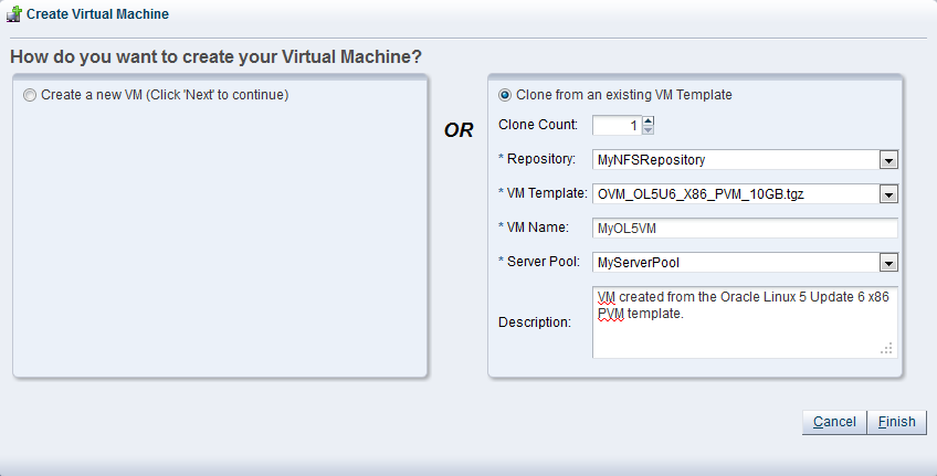 9.1. Creating a virtual machine from a template