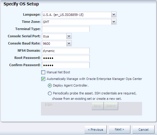 Enterprise Manager Ops Center Provisioning Oracle Solaris 10
