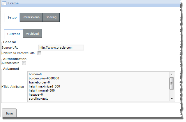 Configuring an IFrame component