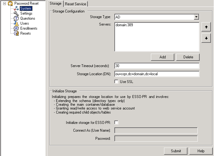 Using the Administrative Console to Configure Password Reset