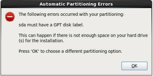 error a guid partition table gpt partitioning scheme is required