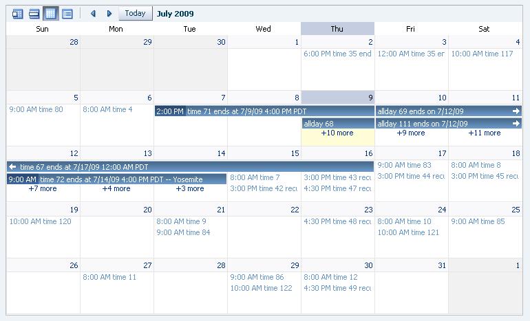 <af:calendar>