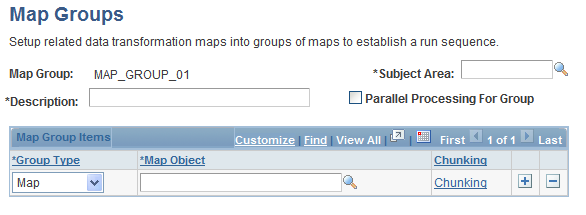 Defining Map Groups and Map Group Chunking Criteria