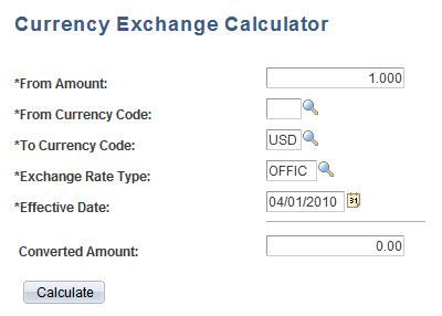 Currency Exchange Calculator Page