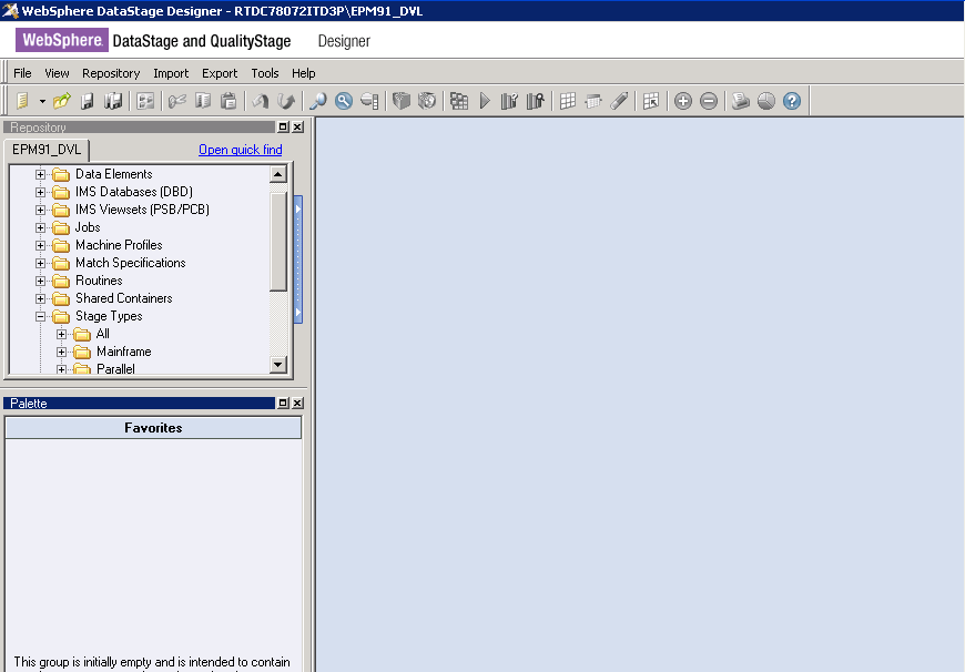 DataStage Designer Window