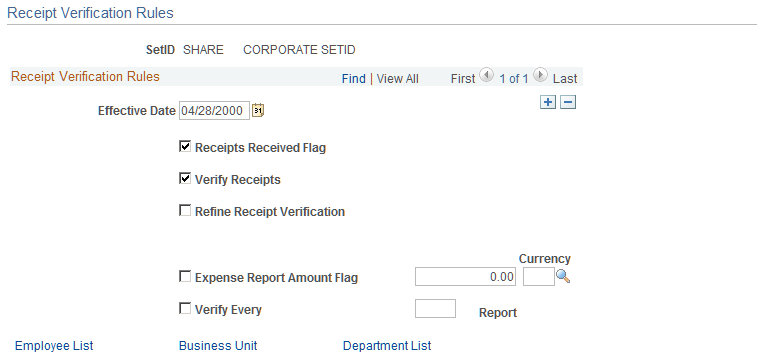 setting up receipt verification rules and lists